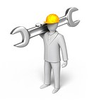 man ready to work, 3D man with spanner