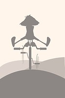 Silhouette on a bicycle. Vector image