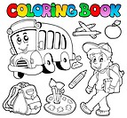 Coloring book school cartoons 2 _ thematic illustration.
