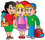 Three happy school kids _ thematic illustration.
