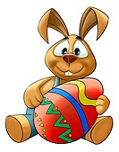 happy rabbit with a big colored easter egg