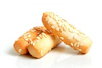 Cookies with sesame on a white background
