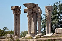 Ancient Ruins Pillars Old Summer Palace Yuanming Yuan Beijing China Old Summer Palace was destroyed by British and French Army in 1860 Second Opium Wa...