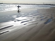 Beach with surfer,