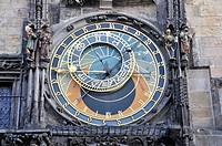 Astronomical Clock, tower of the Old Town Hall, Old Town Square, historic district of Prague, Bohemia, Czech Republic, Europe, PublicGround