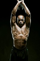 African American man weight lifting