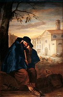 Pilgrim Sleeping, by Giacomo Ceruti know as Pitocchetto, 1700 _ 1750 about, 18th Century, oil on canvas, cm 214 x 138. Italy, Tuscany, Florence, Rober...