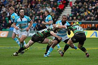 05 05 2012 Northampton, England Rugby Union Northampton Saints v Worcester Warriors Josh DRAUNINIU of Worcester Warriors is tackled by James CRAIG lef...