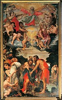 Baptism of Christ, by Annibale Carracci, 1585, 16th Century, oil on canvas, cm 383 x 225. Italy, Emilia Romagna, Bologna, San Gregorio Church. All. Ba...