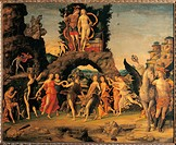 Parnassus, by Andrea Mantegna, 1497 about, 15th Century, tempera on canvas, cm 150 x 192 . France, Ile de France, Paris, Muse dOrsay. All arch rock Ma...