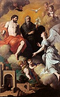 The Holy Trinity Sending Archangel Gabriel to the Virgin, by Pietro Novelli known as Monrealese, 1630 _ 1633 about, 17th Century, oil on canvas, cm 28...
