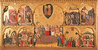 Polyptych of the Domitio Virginis with Crowning of the Virgin, St Gregory Praying at Trajans Sepulcher, Annunciation, Nativity, Adoration of the Magi,...