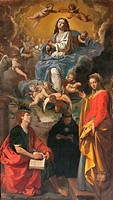 Immaculate Conception and Sts. John the Evangelist, Nicholas of Tolentino and Euphemia, by Simone Cantarini known as il Pesarese, 1634 _ 1636, 17th Ce...