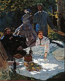 The Breakfast in the Greenery, by Claude Monet, 1865 _ 1866, 19th Century, oil on canvas, cm 248 x 271. France, Ile de France, Paris, Muse dOrsay. Det...