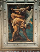 Jacob Struggles with the Angel, by Niccol Tornioli, 17th Century. Italy, Emilia Romagna, Bologna, San Paolo Church. All. Jacob, angel, fight, landscap...