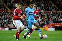 17 04 2012 Bristol, England Bristol City Defender Jamie McAllister SCO and West Ham Forward Ricardo Vaz Te POR compete for the ball during the first h...