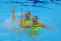 18 04 2012 London, England Elena Radkova and Kalina Yordanova BUL in action during the Duets Technical Routine on Day 1 of the FINA Olympic Games Sync...