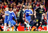18 04 2012 Stamford Bridge, Chelsea, London Lionel Messi of FC Barcelona and Issac Cuenca of FC Barcelona during the Champions League Semi Final 1st l...