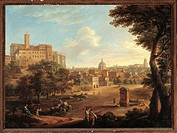 View of Campo Vaccino, by Paolo Monaldi, Paolo Anesi, 18th Century. Italy, Lazio, Rome, Museum of Rome. All. View Campo Vaccino trees plants buildings...