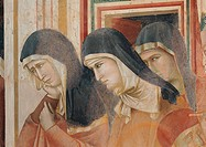 St Francis Mourned by St Clare, by Giotto, 1296 _ 1300 about, 13th Century, fresco, cm 270 x 230. Italy, Umbria, Perugia, Assisi, Upper Basilica of Sa...
