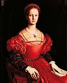 Portrait of Lucrezia Panciatichi, by Angelo or Agnolo Allori known as Bronzino, 1540 _ 1546 about, 16th Century, oil on panel, cm 102 x 85. Italy, Tus...