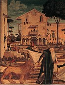 St Hieronymus Leads the Lion to the Monastery, by Vittore Carpaccio, 1502, 16th Century, oil on canvas, cm 141 x 211. Italy, Veneto, Venice, School of...