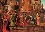 Legend of St Ursula. Meeting and Departure of the Betrothed, by Vittore Carpaccio, 1495 about, 15th Century, oil on canvas, cm 279 x 610. Italy, Venet...