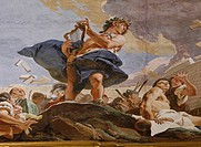 The Power of Eloquence, by Giambattista Tiepolo, 1724 _ 1725, 18th Century, fresco. Italy, Veneto, Venice, Palazzo Sandi. Detail. Amphion building the...