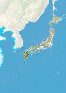 Satellite view of Japan with bump effect, showing the region of Kyushu. This image was compiled from data acquired by LANDSAT 5 & 7 satellites combine...