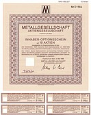 Securities certificate, bearer warrant, German mark, metal trading, Metallgesellschaft Aktiengesellschaft, Frankfurt am Main, Germany, Europe, now par...