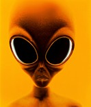 Space alien. Computer illustration of an alien or extraterrestrial ET. The most commonly reported alien features include dark, slanting eyes and a lar...
