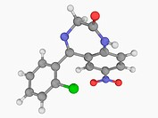 Clonazepam, molecular model. Benzodiazepine drug with anxiolytic, anticonvulsant, muscle relaxant, and hypnotic properties. Atoms are represented as s...