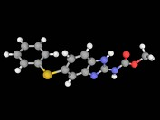 Fenbendazole, molecular model. Broad spectrum benzimidazole anthelmintic used against gastrointestinal parasites. Atoms are represented as spheres and...