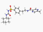 Glipizide, molecular model. Anti_diabetic drug of the sulfonylurea class. Atoms are represented as spheres and are colour_coded: carbon grey, hydrogen...