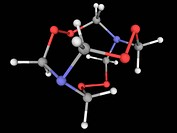 Hexamethylene triperoxide diamine HMTD, molecular model. Highly explosive organic compound. Common home_made explosive used by terrorists. Atoms are r...