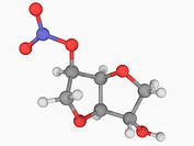 Isosorbide mononitrate, molecular model. Nitrate_class drug used in the treatment of angina pectoris. Atoms are represented as spheres and are colour_...
