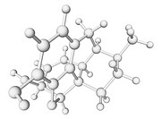 Morphine, molecular model.