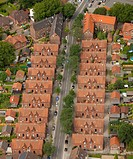 Aerial view, colliery houses Kirchhellener Strasse street, Glackbeck, Ruhr Area, North Rhine_Westphalia, Germany, Europe