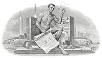 Historical stock certificate, detail of the vignette, a man with a technical drawing sitting in front of electronic devices, electronics company, tele...