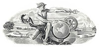 Historical stock certificate, detail of the vignette, allegorical representation of Hermes in front of a globe with a cultured landscape, mining compa...
