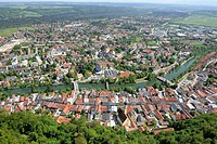 Aerial view, Wolfratshausen with the Loisach River, Upper Bavaria, Germany, Europe