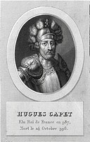 Historical steel engraving from the 19th Century, portrait, King of France, Hugo Capet or Hugues Capet, Duke of Francia or Dux Francorum, King of the ...