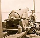 James River, Virginia. 100 pounder. gun on Confederate gunboat TEASER captured on July 4, 1862 by U.S.S. MARATANZA