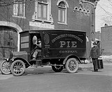 Connecticut Copperwhite Pie Company with Driver and Delivery man holding basket for pies