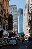 One World Trade Center in Lower Manhattan in New York is seen from Fulton Street The building is about to become the tallest building in New York as w...