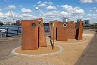 Casuals, a sculpture by Broadbent at Salford Quays, Manchester, England
