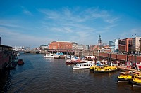 Boats in the Harbour of Hamburg, Germany