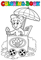 Coloring book with ice cream man _ picture illustration.