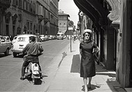 Rose Fitzgerald Kennedy walking along the city streets. She isAmerican President in office John Fitzgerald Kennedy mother.Florence, June1960