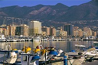 Spain, Andalusia, Malaga,  Fuengirola, fishing harbour and tourist resort, on the Costa del Sol.